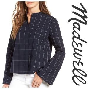 Madewell Cropped Bell-Sleeve Shirt in Windowpane